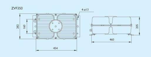 ZVF350 产品系列 ZVF350是一款适合大功率高压气体放电灯光源的分离式电器箱,高压铸铝箱体抗腐蚀,结构紧凑,坚固耐用。在电器箱中有一块金属底板,底板上规则地排列着电容、镇流器或触发器,以及电器元件之间的导线和安装用的接线端子。因为温度高或空间不允许等情况,又不能与灯具构成一体化,同时还要满足电器元件和灯具必须有一定的安全距离,所以通常结合灯具使用。